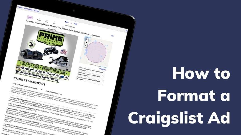 Formatting a Craigslist Ad