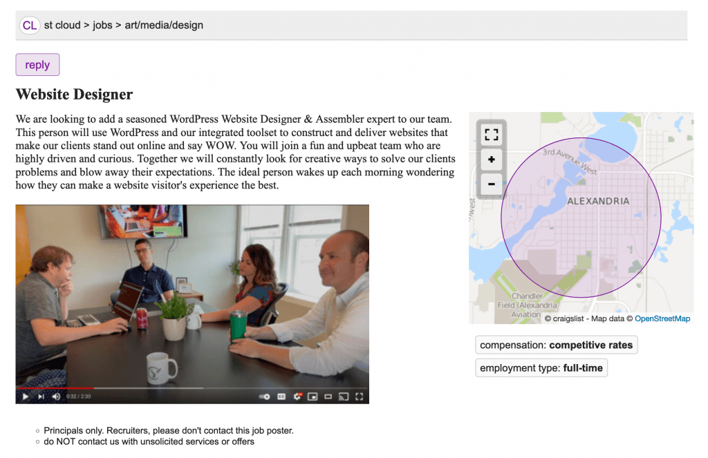 Example of a Craigslist Ad with a video preview