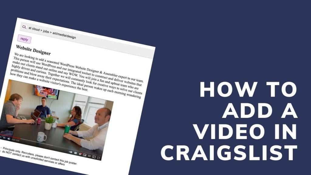Article on how to add a video preview to a Craigslist ad