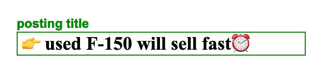 Example of a Craigslist title with emojis and symbols